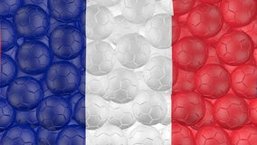 4K Soccer balls is falling down on a white and forming a franch flag stock video