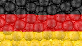 4K Soccer balls is falling down on a white and forming a german flag stock footage