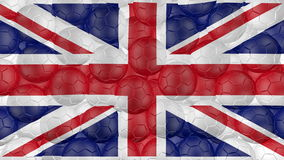 4K Soccer balls is falling down on a white and forming a great britain flag stock video footage