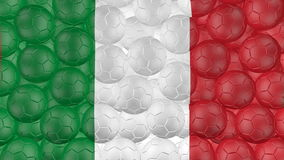 4K Soccer balls is falling down on a white and forming a italy flag stock video