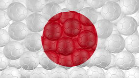 4K Soccer balls is falling down on a white and forming a japan flag stock video