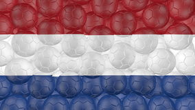 4K Soccer balls is falling down on a white and forming a netherlands flag stock footage