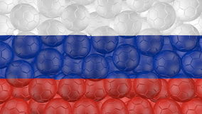 4K Soccer balls is falling down on a white and forming a russia flag