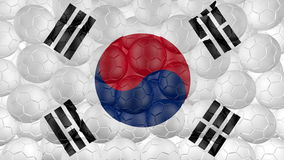 4K Soccer balls is falling down on a white and forming a south korea flag stock video