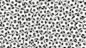 4K Soccer balls is falling down on white and forming a wall