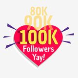 100k social followers success message poster template. Vector Stock Photography