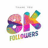 8k social media follower number thank you template. 8000 followers thank you paper cut number illustration. Special 8k user goal celebration for eight thousand Royalty Free Stock Photo
