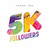 5k social media follower number thank you template. 5000 followers thank you paper cut number illustration. Special 5k user goal celebration for five thousand royalty free illustration