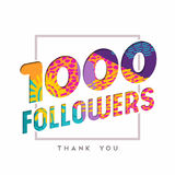 1k social media follower number thank you template. 1000 followers thank you paper cut number illustration. Special 1k user goal celebration for one thousand Stock Illustration