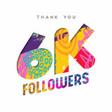 6k social media follower number thank you template Royalty Free Stock Images