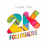 2k social media follower number thank you template. 2000 followers thank you paper cut number illustration. Special 2k user goal celebration for two thousand royalty free illustration