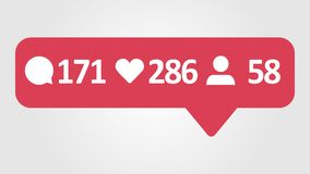4K social media red Comments, Likes and Followers Counter, Shows Comments, Likes and Followers Over Time. stock footage