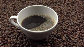 4k som häller en kopp kaffe med kaffebönor Ingrediens för att förbereda kaffe arkivfilmer