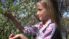 4K som skrattar det utomhus- barnet parkerar in, flickan som spelar utomhus- vårblommor, fruktträdgård stock video