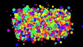 4k sottraggono i cerchi, fondo della bolla delle bolle, fuochi d'artificio che dei punti le particelle spumano illustrazione vettoriale