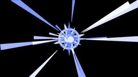 4k sottraggono il fondo di esplosione delle particelle di energia, luce di radiazione dei raggi dei tunnel royalty illustrazione gratis