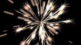 4k sottraggono il fondo leggero di nozze delle stelle dei fuochi d'artificio del raggio, petardi di festa stock footage