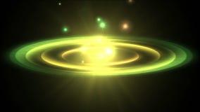 4k sottraggono il laser del raggio di energia del cerchio, fuochi d'artificio del foro della particella dell'ondulazione del tunn illustrazione vettoriale