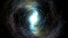 4k sottraggono il viaggio di gorgo del foro della particella dei fuochi d'artificio del tunnel dell'universo di vortice di energi stock footage