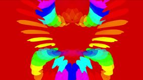 4k sottraggono la piuma indiana dell'arcobaleno di colore, fondo al neon di energia, modello del loto stock footage