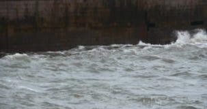 4k sparkling ocean sea water waves surface & coastal rock coast surge dam shore.