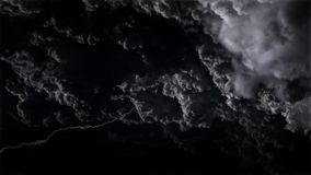 4K Spectacular sky with thunderstorms and lightnings in night storm clouds stock video