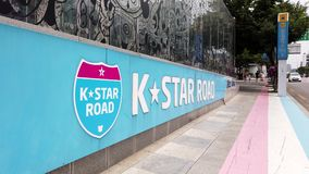 K star road in gangnam south korea stock footage