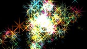 4k Stars il fondo del fuoco d'artificio della particella, energia del fuoco, esplosione della bolla della polvere nera illustrazione vettoriale