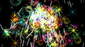 4k Stars il fondo del fuoco d'artificio della particella, energia del fuoco, esplosione della bolla della polvere nera royalty illustrazione gratis
