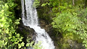 4k steady wild nature landscape shot on amazing stone cliff small river waterfall in green tree mountain forest stock footage