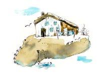 K?sten-Dorf Gezeichnete Illustrationen des Aquarells Hand vektor abbildung