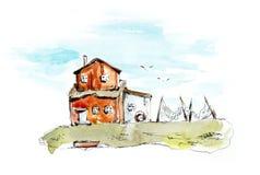 K?sten-Dorf Gezeichnete Illustrationen des Aquarells Hand stock abbildung