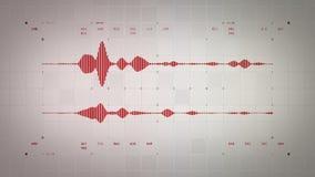 4K Stereo Czerwony Lite Audio Waveform ilustracji