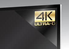 4K sticker op TV Royalty-vrije Stock Fotografie