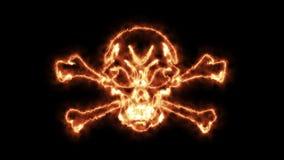4k stock: Fire Burning Skull