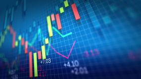 4K. Stock Market Chart on blue background. stock video footage