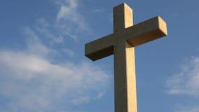 4K Stort kors på monteringen Srd ett lågt berg i Dubrovnik, Dalmatia, Kroatien arkivfilmer
