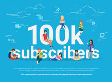 100k subscribers concept illustration of young man and woman following interesting bloggers and networking. 100k subscribers concept illustration of young man Royalty Free Stock Photos