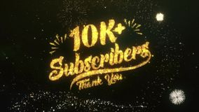 10K+ Subscribers Text Greeting Wishes Sparklers Particles Night Sky Firework. Greeting and Wishes card Made from Glitter Particles and Sparklers Light Dark Night stock footage