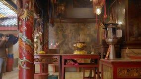 4K tła porcelanowy świątynny czerwony pojęcie dla Szczęśliwego Chińskiego nowego roku 2019 pokazu tła, rozmyty plenerowy buddyjsk zdjęcie wideo