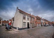 Kąt rocznika dom w Bruges obraz royalty free
