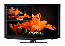 4K televisievertoning royalty-vrije stock afbeelding