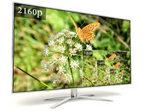 4K television display with comparison of resolutions Stock Images