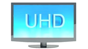4K television display. With comparison of resolutions. Ultra HD Stock Photos
