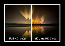 4K television display. With comparison of resolutions. Ultra HD on on modern TV vector illustration