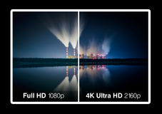 4K television display. With comparison of resolutions. Ultra HD on on modern TV Royalty Free Stock Photography