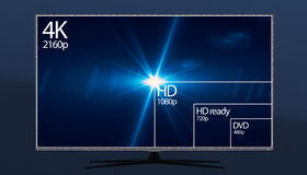 4K television resolution display with comparison of resolutions. 3D render. 4k resolution preview on tv royalty free illustration