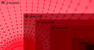 8K television resolution display with comparison of resolutions. 3D render Stock Photo