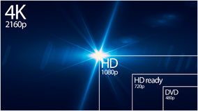 4K television resolution display with comparison of resolutions. 3D render Royalty Free Stock Image