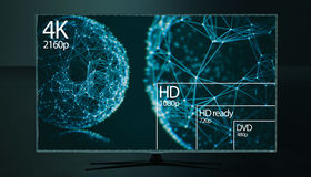 4K television resolution display with comparison of resolutions. 3D render Royalty Free Stock Photos